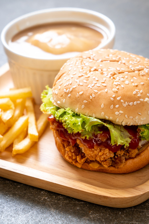 fried chicken burger - unhealthy food style Stock Photo