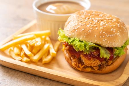 fried chicken burger - unhealthy food style Banco de Imagens