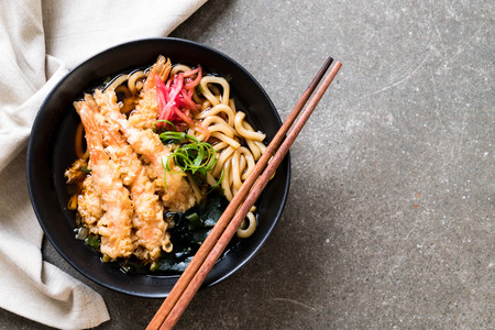 udon ramen noodles with shrimps tempura - Japanese food style Stock Photo
