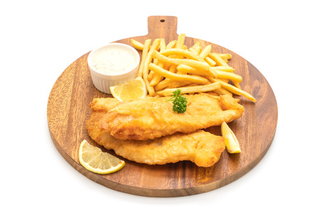 fish and chips with french fries isolated on white background