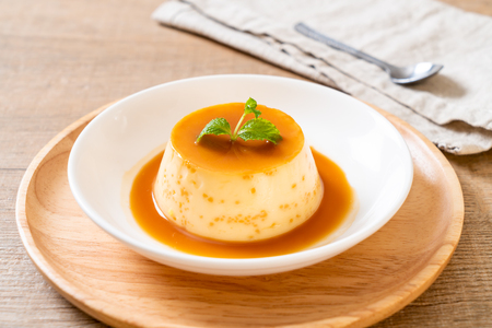 homemade caramel custard pudding with mint