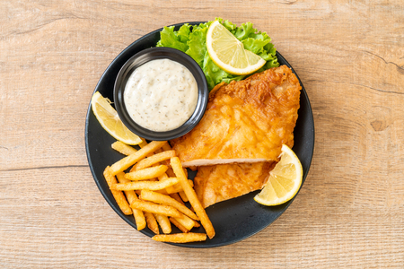 fish and chips - unhealthy food Stock Photo