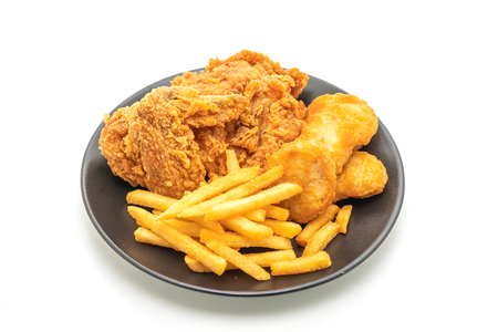 fried chicken with french fries and nuggets meal (junk food and unhealthy food) isolated on white background Stock Photo