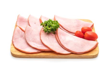 smoked ham sliced isolated on white background Stock Photo