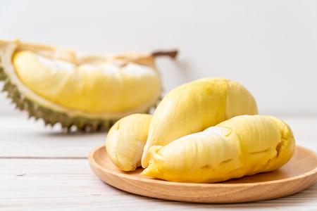 Fresh Durian Fruit on wood background Archivio Fotografico