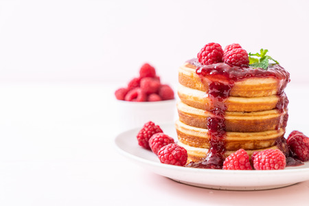 pancake with fresh raspberries and raspberry sauce Stock Photo