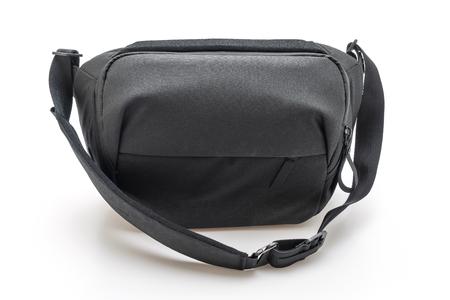 black fabric fashion men bag isolated on white background Banco de Imagens