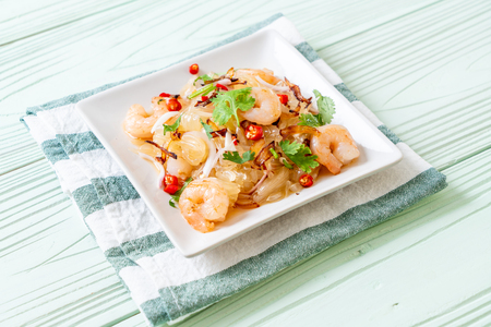 pamelo spicy salad with shrimps or prawns - fusion food style Stock Photo