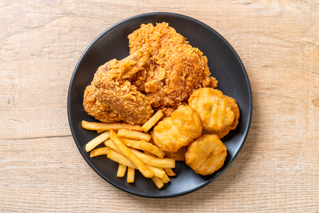 Fried Chicken With French Fries And Nuggets Meal Junk Food Stock