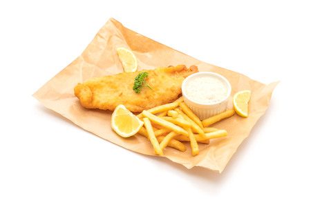 fish and chips with french fries isolated on white background Stock Photo