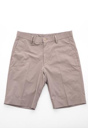 men's beige short pants isolated on white background