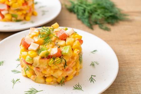 mixed fruit salad with crab stick (apple, corn, papaya, pineapple) - healthy food style 写真素材