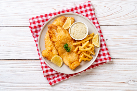 fish and chips with french fries - unhealthy food 写真素材
