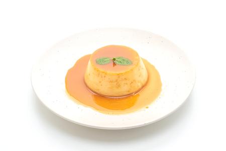 homemade caramel custard pudding isolated on white background