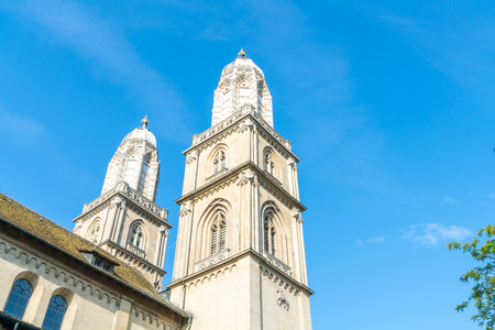 Beautiful Architecture at Famous Tower of Grossmunster church in Zurich City, Switzerland