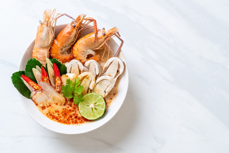 spicy shrimps soup (Tom Yum Goong) - Thai Traditional Food
