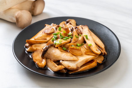 stir-fried king oyster mushroom in oyster sauce - healthy, vegan or vegetarian food style