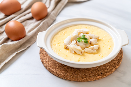 steamed egg with crab raw 免版税图像