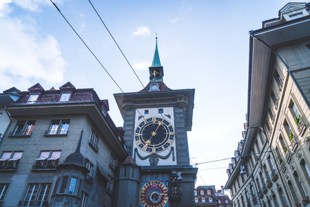 Astronomical clock on the medieval Zytglogge clock tower in Kramgasse street in old city center of Bern, Switzerland. Éditoriale
