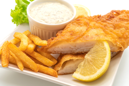 fish and chips isolated on white background