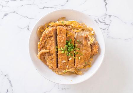 fried pork cutlet rice bowl (Katsudon) - Japanese food style Stock Photo