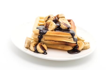 banana waffle with chocolate on white background