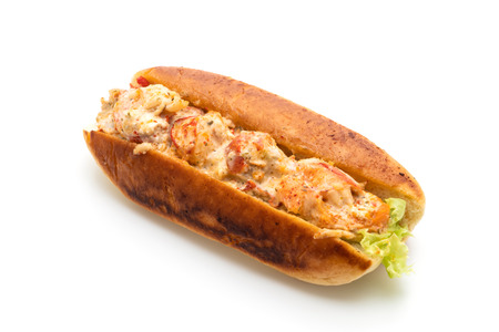 Homemade lobster roll isolated on white background