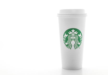 BANGKOK, THAILAND - JUN 5, 2018: White coffee cup isolated on white background. Starbucks is the worlds largest coffee house with over 20,000 stores in 61 countries. Editorial
