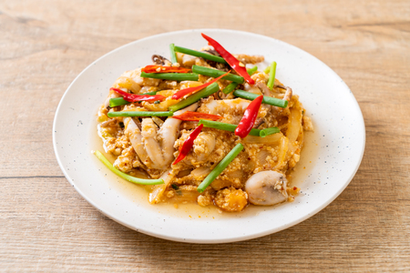 Stir-Fried Squid or Octopus with Salted Eggs - Asian seafood style