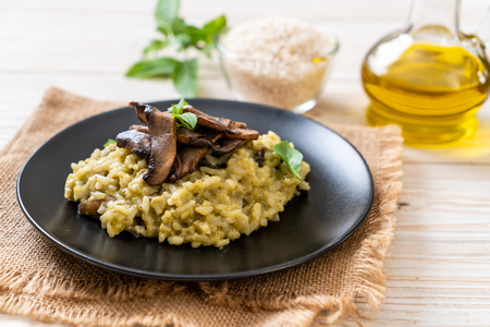 Homemade Mushroom Risotto with Pesto and Cheese