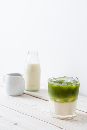 iced matcha green tea latte with milk