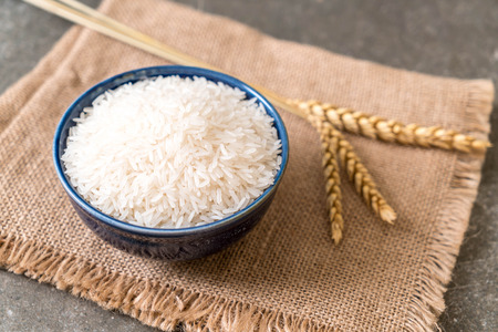 white raw Thai jasmine rice