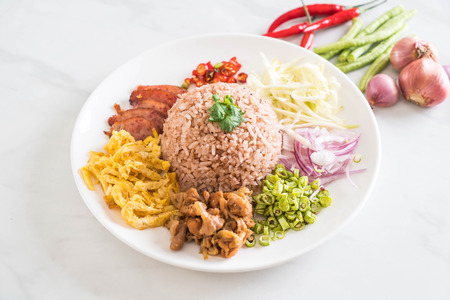 Rice Mixed with Shrimp paste - Thai traditional food Zdjęcie Seryjne