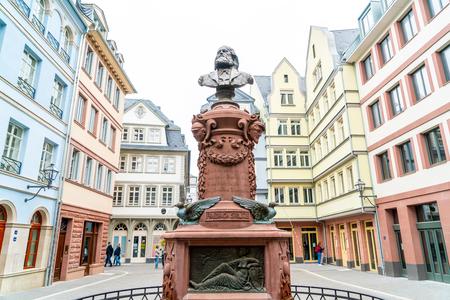 FRANKFURT, GERMANY - SEP 2, 2018: People on Roemerberg square in Frankfurt, Germany. Frankfurt is the fifth-largest city in Germany. Editorial