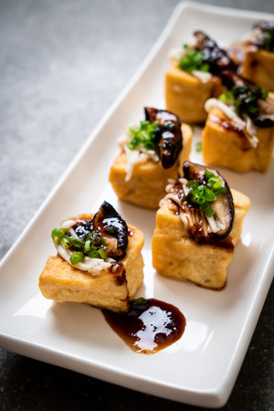 Grilled Tofu with Shitake Mushroom and Golden Needle Mushroom - healthy, vegan or vegetarian food style