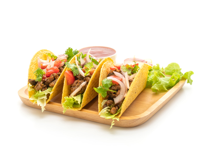 tacos with meat and vegetables isolated on white background -  Mexican food style