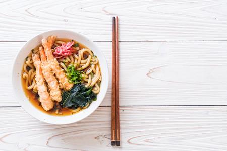 udon ramen noodles with shrimps tempura - Japanese food style 版權商用圖片