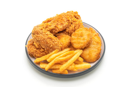 fried chicken with french fries and nuggets meal (junk food and unhealthy food) isolated on white background 版權商用圖片