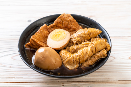 hard-boiled egg in brown sauce or sweet gravy - Asian food