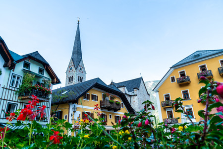 Beautiful Old Town Square in Hallstatt, Austria.