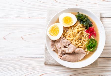 tonkotsu ramen noodles with pork and egg - japanese style