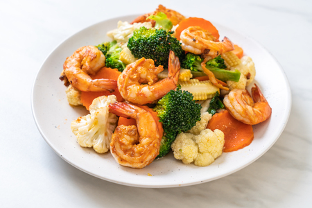 stir-fried mixed vegetable with shrimps - healthy food style