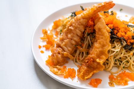 spaghetti with tempura shrimps and shrimp egg - fusion food
