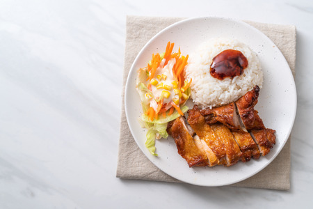 grilled chicken with teriyaki sauce and rice and salad Stok Fotoğraf