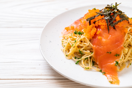 spaghetti with smoked salmon and shrimp egg - fusion food style