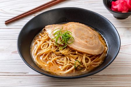 tonkotsu ramen noodles with chaashu pork - Japanese style
