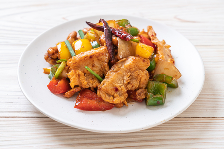 Stir-Fried Chicken with Cashew Nuts - Asian Food 免版税图像
