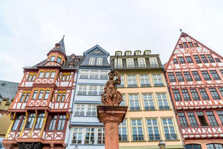 beautiful old town square romerberg with Justitia statue in Frankfurt Germany