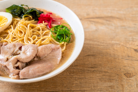 tonkotsu ramen noodles with pork and egg - japanese style