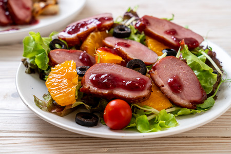 grilled duck breast with vegetable salad 스톡 콘텐츠